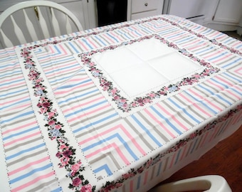 Lovely Vintage Roses Tablecloth Pink and Blue Fresh clean Colors 48 X 52 Inches ECS SVFT
