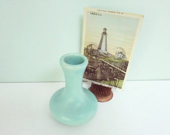Small Art Pottery Bud Vase in Matte Aqua Green