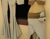 Cotton lycra Olive Green/white striped tribal flares