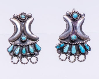 Zuni Turquoise Earrings - 40s/50s Hand Made Hooks - Petitpoint