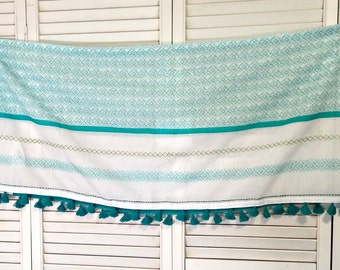 Boho Fabric Panel | Blue and White with Tassels