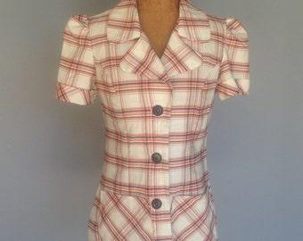 Vintage 40s Cotton Blouse Jacket Check Windowpane S XS
