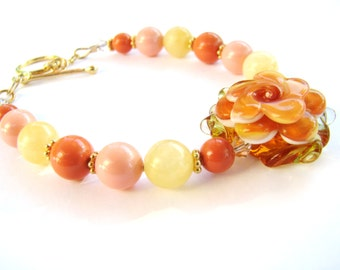 SALE 30% OFF, Apricot Lampwork Flower Bracelet, Swarovski Coral Pearls, Yellow Aragonite Stone, 14k Gold Filled Bracelet