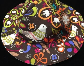 Reversible birds and floral sunhat sizes newborn to adult