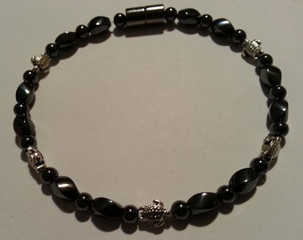 Silver Sea Turtle Magnetic Hematite Anklet