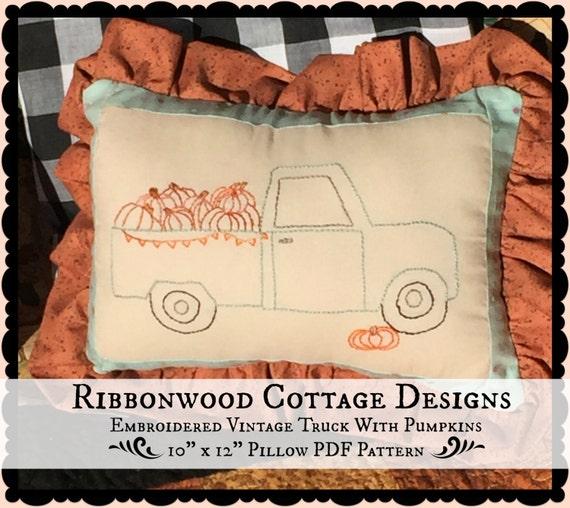 "PDF Embroidery Pattern Vintage Aqua Truck with Pumpkins-10"" x 12"" Pillow Pattern PDF"