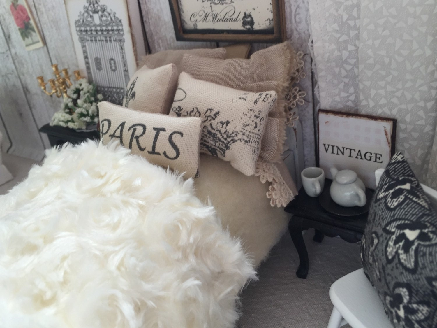 Paris Themed Dollhouse Bedding And Bed 1 12 Miniature