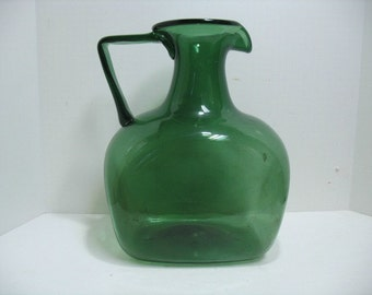 Vintage Blenko ? Giant Jug Pitcher in Green Mid Century Art Glass Huge Water Pitcher