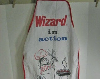 Wizard Charcoal Lighter Fluid Vintage BBQ Apron, Advertising Premium Bar-B-Q Apron Barbecue