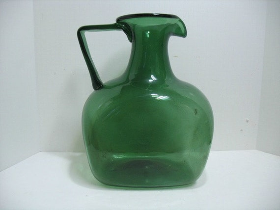 Vitnage Blenko Green Jug Pitcher, 70s Mid Century Art Glass, Large Water Pitcher, Free Shipping