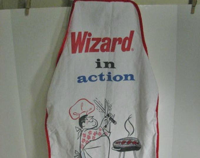 Vintage Wizard Charcoal Lighter Fluid BBQ Apron, Advertising Premium Bar-B-Q Apron Barbecue Man