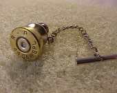 Bullet Tie Tack 44 S&W Special Brass Shell Recycled Repurposed