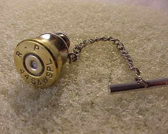 Bullet Tie Tack Brass 44 S&W Special Brass Shell Recycled Repurposed