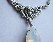 Art Nouveau Necklace, Moon Goddess Necklace, Opalite Necklace, Vintage Necklace,
