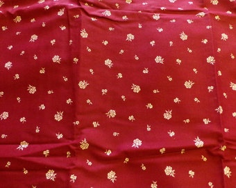 Burgundy Fabric With White Flowers By Marcus Textiles