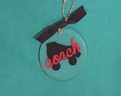 Roller Derby Coach keyring or bag tag, teammates, gift, derby coach, ready to ship