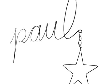 wire name sign with a star