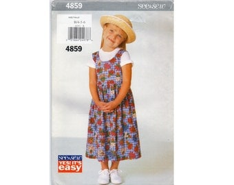 Girls Jumper Pattern Pullover Dress with Dirndl Skirt Very Easy Butterick 4859 See & Sew Size 4 5 6 Vintage Uncut