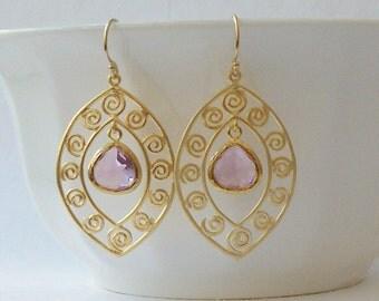 Lilac Dangle Earrings Light Purple Earrings