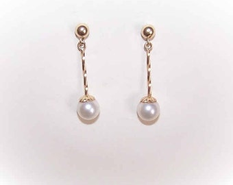 Vintage Earrings,14K Gold,Yellow Gold,6mm Pearl,Cultured Pearl,Drop Earrings,14K Gold Pearl Earrings:Dangle Earrings,Pierced,Posts with Nuts
