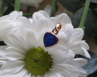 Lapis Lazuli Heart Pendant, 18k Rose Gold and Lapis Pendant, Handforged without Casting, Ready to Ship