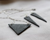 Triangle Black Necklace and Earrings, Minimalist Necklace