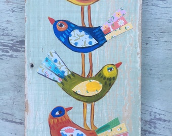 Small Folk Art Mixed Media Bird Painting on Reclaimed Wood