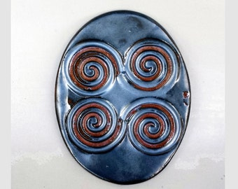 Spirals Trinket Ring Ceramic Dish Collectible Stoneware Home Decor Masculine Gift
