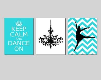 Dance Wall Art Keep Calm and Dance On, Chandelier, Chevron Jazz Dancer Trio Girl Bedroom Art - Set of Three 11x14 Prints CHOOSE YOUR COLORS