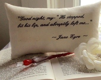 """Charlotte Bronte-Jane Eyre-""""Good Night, My..."""" Quotation Mini Pillow-Sweet Floral"""