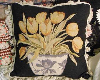 """Vintage Wool NEEDLEPOINT TULIP PILLOW Yellow Pastel Flowers Muted Green Foliage & White Bowl on Black Background, Tassels Velveteen 18"""" sq"""
