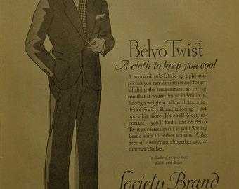 1926 Society Brand Clothes Ad Men's Fashion Great Deco Fashion