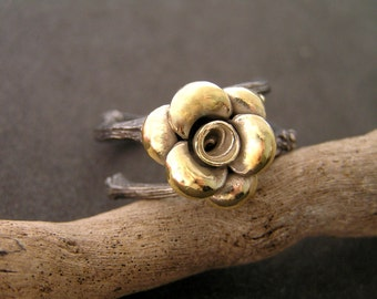 Gold plated sterling silver  flower on oxidized sterling silver branch ring.  Alternative engagement ring. Botanical jewelry.