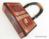 Shakespeare Book Purse - William Shakespeare Recycled Leather Bound Book - Literature Gift - Shakespeare Book Cover Handbag - Book Clutch