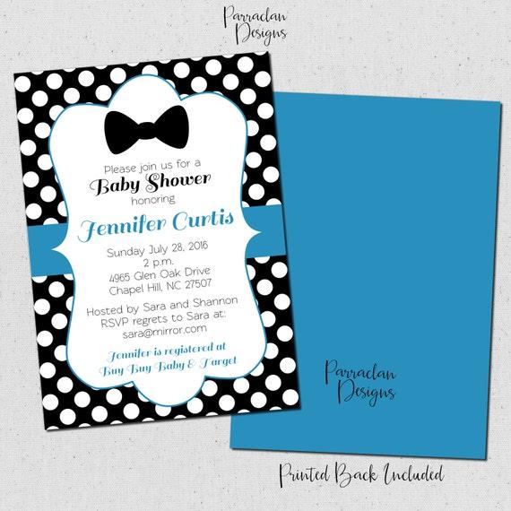 Bow Tie Baby Shower Invitation, Polka Dot Baby Shower Invitation, Blue, Printable, Digital File, {Baby3}