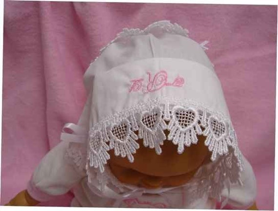 Baby hankie Handkerchief Magic Bonnet turns handkerchief for wedding Venice lace