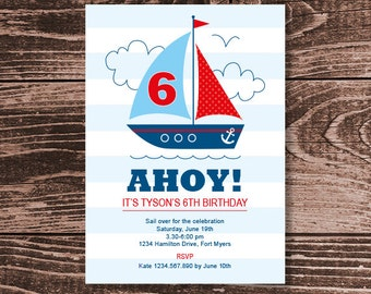Nautical Sailboat Party Invitation – DIY Printable Personalized – Blue Boy (Digital File)