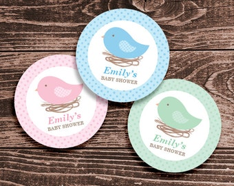Personalized Bird Nest Baby Shower Cupcake Toppers, Favor Tags or Stickers – 2 Inch Circles – DIY Printable (Digital File)