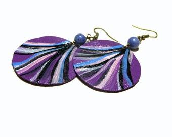 Round Leather Earrings Sodalite Earrings Painted Jewelry Feminine Jewelry Hippie Boho Top Selling Jewelry Jewelry for Women Boho Chic