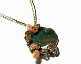 WinterSale Fancy Jasper Floral Wire Wrapped Pendant, Fancy Jasper Pendant, Gemstone Jewelry, Jewelry for Women, Popular Jewelry, Gift Ideas,