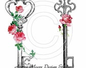 Beautiful victorian Vintage Chic Shabby Red Rose Keys Corner Spray Waterslide Water Slide Miniature Nail art Decals Craft Wall ro-193