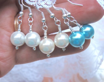 Simply white pearl earrings.White shell pearls on silver plated hooks.Earrings for everyday, or special days. Gift for a bride & bridesmaids
