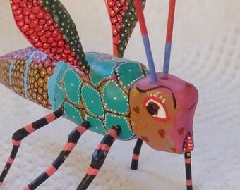 "Mexican Folk Art Carved Wooden Wasp, 6"", Alebrije Animal"
