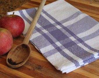 Handwoven kitchen tea towel in white and lavender cotton plaid