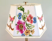 Flowers Lamp Shade, Embroidery Lampshade Vintage European Embroidery 9x14x9 high, English Cottage Sweet