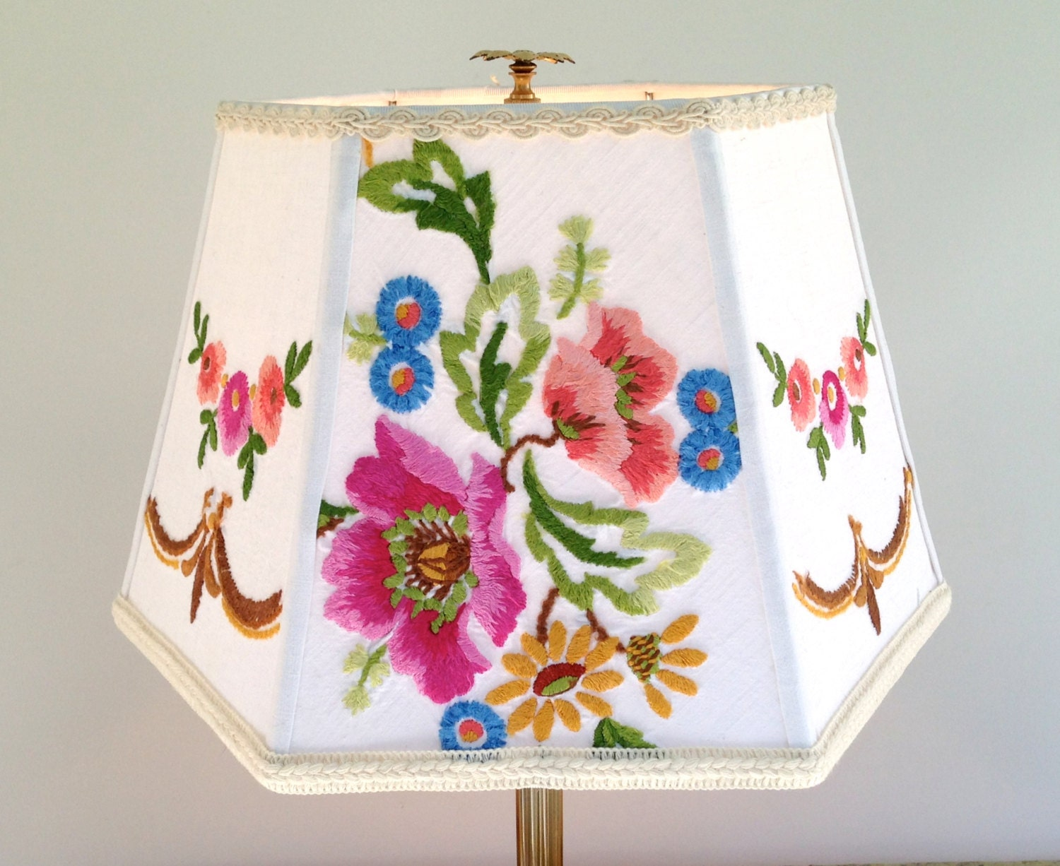 Floral Lamp Shade Embroidery Lampshade Vintage European