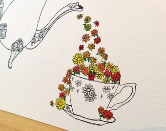 Cup of Flowers  - Teapot card