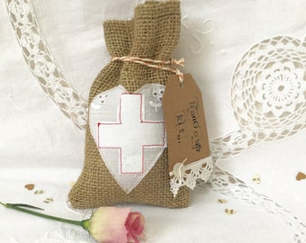 Stitched Hessian Hangover Kit Wedding Favour Bag with optional Handprinted Tag