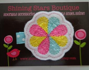 Hair Accessories - Felt Hair Clip - Hot Pink, Aqua Blue, And Yellow Embroidered Felt Spring Flower Hair Clippie