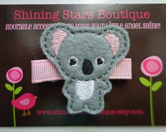 Felt Hair Clips - Baby Girl Hair Accessories - Gray/Grey And Pink Boutique Embroidered Felt Koala Bear Hair Clippie - Zoo Animal